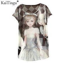KaiTingu 2017 New Design Fashion Vintage Spring Summer T Shirt Women Tops Tshirt Animal Princess Print T-shirt Woman Clothes