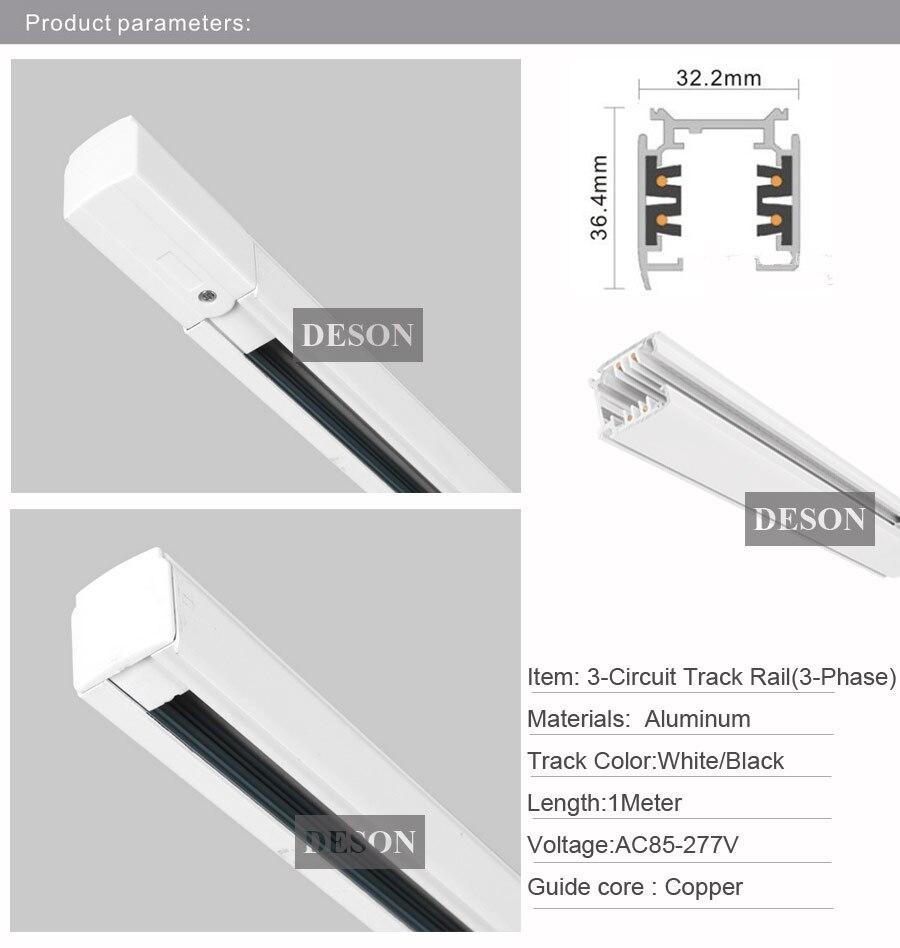 Us 225 0 Dhl 1m Lighting Track 3 Phase Circuit 4 Wires Aluminium Light Rail System For Led Spotlight Square 1 Meter Black White In