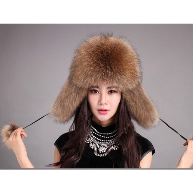 LIYAFUR Brand Russian Women's Winter Real Genuine Raccoon Fur Bomber Hat Cap Covered Ear For Woman