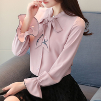 Spring A New Horn Sleeve Bowknot Women Long Sleeve Korean Fashion Coat Bow Collar Shirt Solid