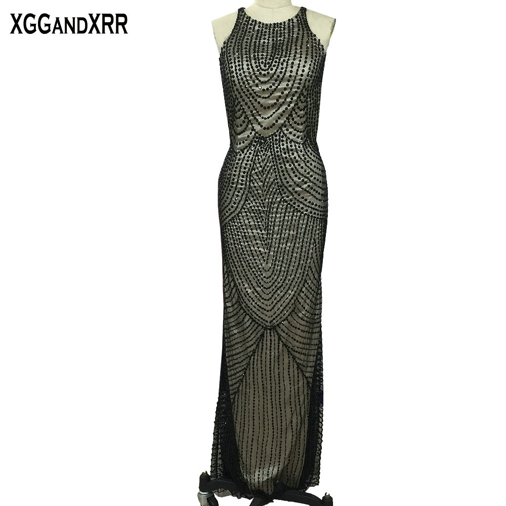 Sexy Open Back Black Long   Evening     Dress   2018 Luxury Scoop Off Shoulder Full Beaded Sequin Crystals Prom   Dress   Beading Party Gown