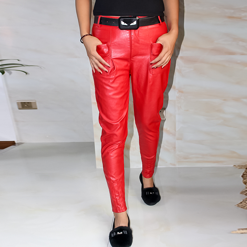 Female autumn winter harem pants female PU leather pants feet loose casual pants trousers Slim Faux Leather Trousers For Female