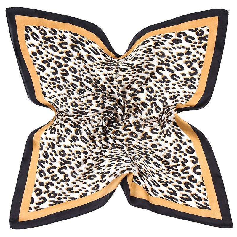 Classic Leopard Print Silk Scarf Bandanna Scarf Women New Fashion Square Scarves Head Neck Tie Band Professional Neckerchief