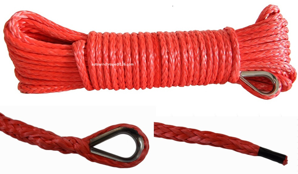 Red 5mm*15m Synthetic Winch Rope,ATV Winch Cable,Boat Winch Rope,ATV Winch Line