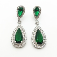 Luxury Zircon Big Waterdrop Heavy Drop Earrings Sparkling AAA Green Cubic Zirconia Fashion Bridal Wedding Party Earrings(China)
