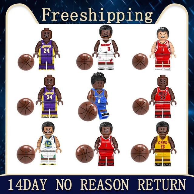legoed Basketball Super Stars Curry James Kobe Wade O'Neal Westbrook Jordan T-Mac Building Block Bricks  Minifigured Toys KT1021