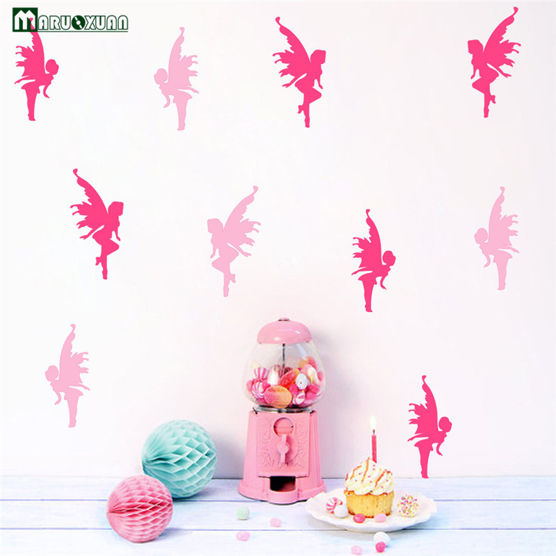 2017 Limited Maruoxuan Diy Combination 8 Color Angel Fairy Wall Stickers For Kids Room Bedroom Living Bathroom Home Decoration