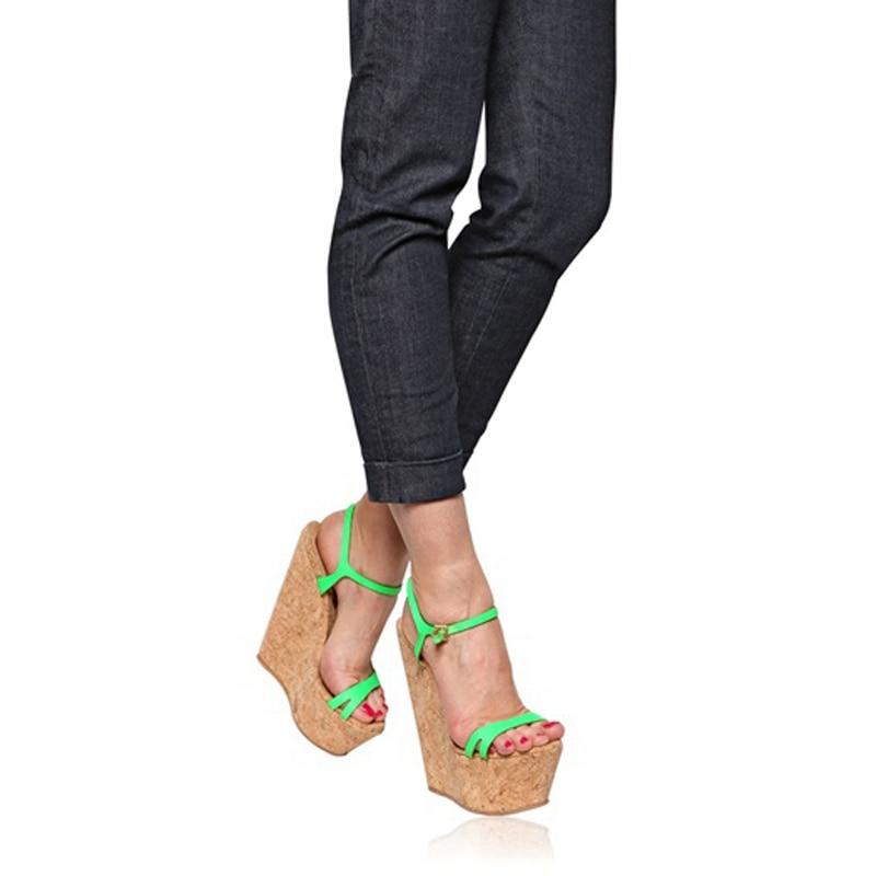 Talons Femmes De Super Robe 2019 Personnalisées Taille Vert Chaude Plateforme Coins Blue Sandales green Vacances pink Rose D'été Hauts Partie Liège À 45 Chaussures Grande wafPq