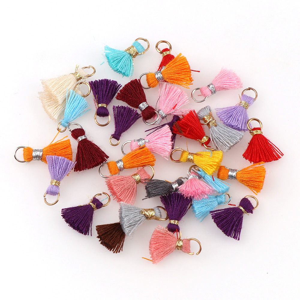 30pcs 3.5cm Suede Leather Tassel For Keychain Straps Fringe DIY Pendant Charms