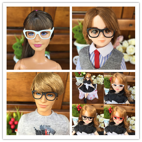 3pcs/lot Original 1/6 Doll Glasses For Barbie Licca Dolls Sunglasses For Kelly Ken White Red Black Doll Accessories For Barbie
