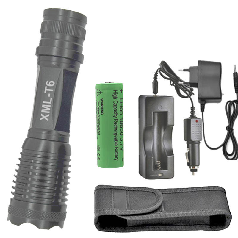 E007 Zoomable 18650 LED flashlights XM-L T6 18650 AAA Flashlight Torch +1* 18650 battery + AC & Car charger+holster e007 zoomable 18650 led flashlights xm l t6 18650 aaa flashlight torch 1 18650 battery ac