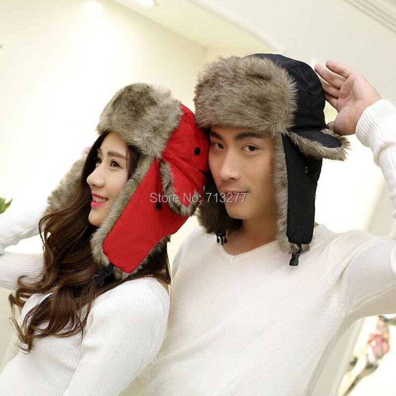 Russian Hat Winter Caps Trapper-Hat Earflaps-Fur Women Fashion Unisex Warm Solid
