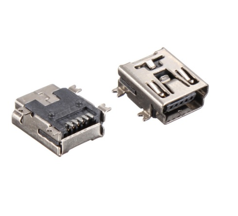 1000pcs/tape & Reel Mini USB Connector 2.0 B F 5 Pin receptacle Female right angle SMD /SMT Mount reflow solderable Board guide