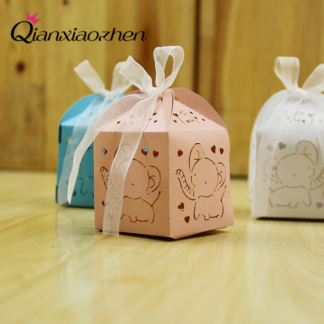 Us 14 79 Qianxiaozhen 50pcs Cute Elephant Birthday Party Decorations Kids Birthday Favor Boxes Candy Box Baby Shower Party Decoration In Gift Bags