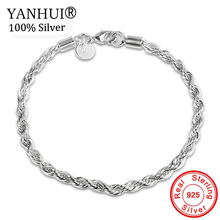 YANHUI 100% Original 925 Silver Bracelets Simple Link Chain Bangle For Men Women Jewelry Gift Good Quality HS201
