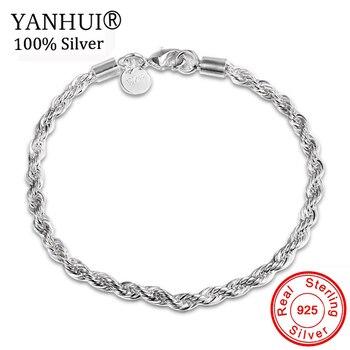 d9be9805ad2f YANHUI 100% Original 925 pulseras de plata Simple cadena pulseras brazalete  para hombres mujeres joyería regalo buena calidad HS201