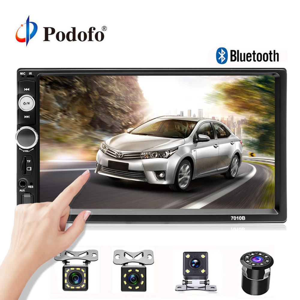 Podofo 2 rádio Do Carro um din Player Multimídia 7 HD Player MP5 Touch Display Digital USB Bluetooth 2din Autoradio Car monitor de Backup