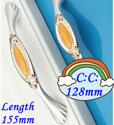 """C: C: 128mm 5.04 """"de Largo 155mm 6.10"""" Ágata amarillo de lujo de cristal manija de los muebles del cajón mango"""