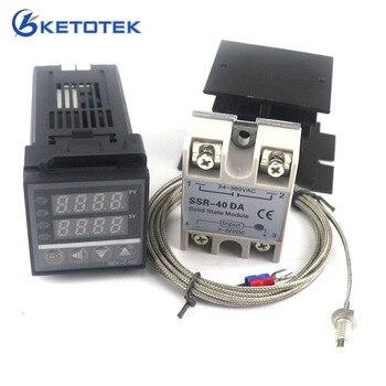 Çift Dijital PID sıcaklık kumandası Termostat Seti REX-C100 ile SSR-40DA ısı emici kalite K prob Termokupl