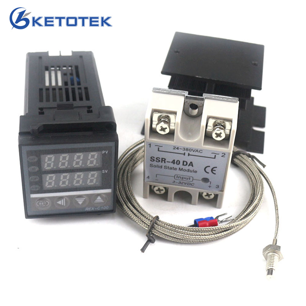 цена на Dual Digital PID Temperature Controller Thermostat Kit REX-C100 with SSR-40DA + heat sink + 2m quality K probe Thermocouple