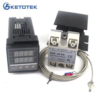 Podwójny cyfrowy regulator temperatury PID termostat zestaw REX-C100 z SSR-40DA radiator jakości K sonda termopara tanie i dobre opinie KETOTEK 120 ° C i Powyżej DIGITAL Przemysłowe Ładowarka Stojąc Stacji 2 0-3 9 Cali 48*48*110mm Thermocouple RTD ALM1
