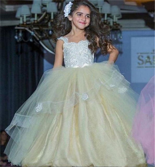 Elegant Sleeveless Pleat Tulle Ball Gown   Flower     Girl     Dresses   2019 Priness   flower     girl     dresses   for weddings Vestidos de comunion