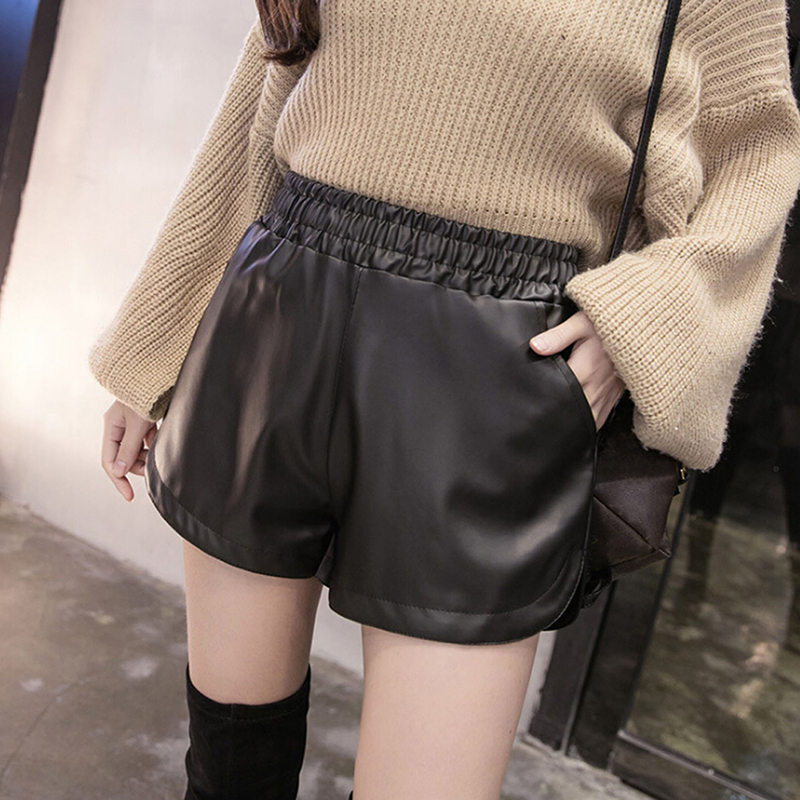 Women Casual Black PU Leather Shorts With Pockets Loose Shorts Summer Autumn Women Plus Size