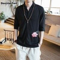 2019 new cotton linen shirt chinese traditional clothing chinese tang hanfu mens chinese shirt
