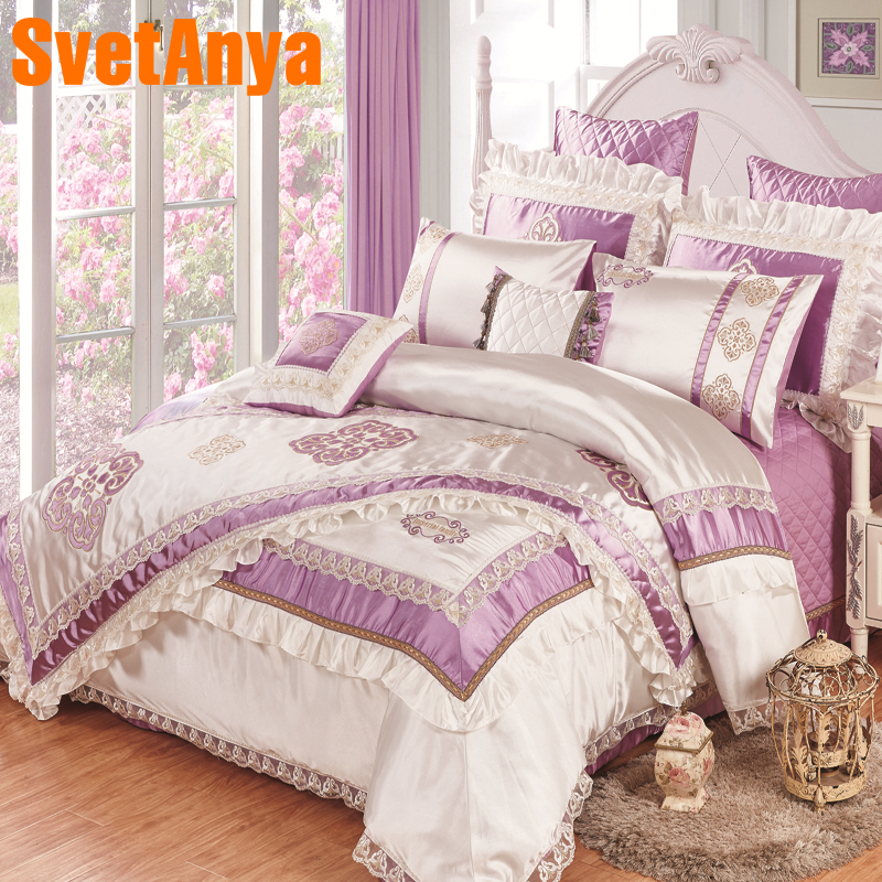 High Quality Silk Slippery 11pcs Bedding Bedspread Linens Embroidered Silk/cotton Fabric King Size Duvet Cover Set Bed Flag