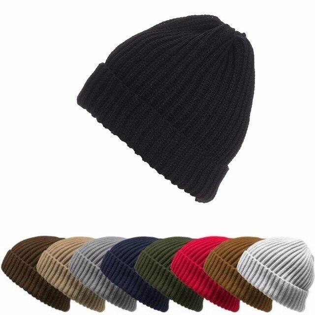 97e7ae67f72bf 2017 Fashion Ribbed Ingot Knit Ski Cap Men Women Hats Autumn Winter Outdoor Warm  Hat Solid Color Vertical Stripes Single Cuffs