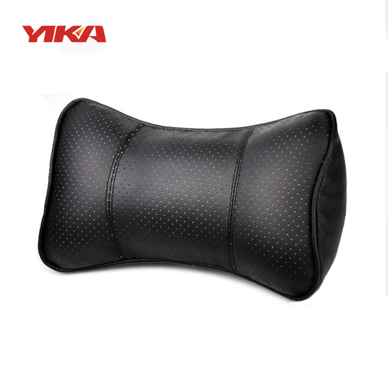 yika 4 colors car leather neck headrest super soft memory foam auto seat cover head neck rest. Black Bedroom Furniture Sets. Home Design Ideas