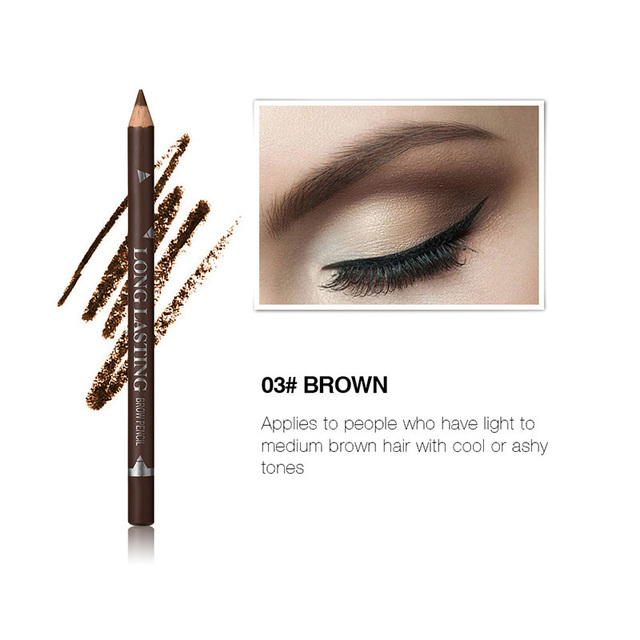 MENOW 3 Colors Black Eyeliner Pencil for Women Waterproof Brown Eyebrow Eye Liner Pencils Makeup Tools Wholesale & Dropshipping 5