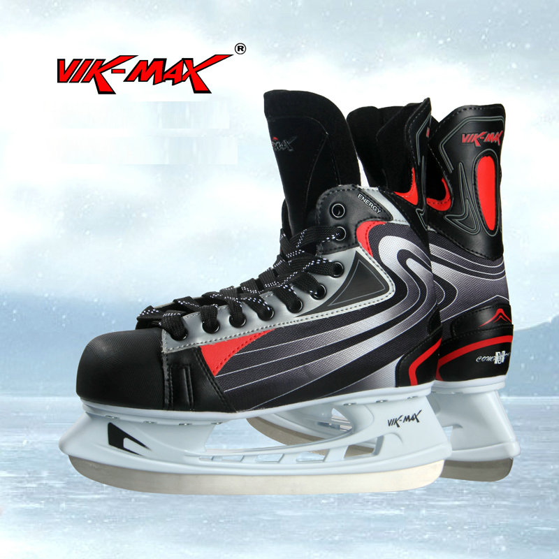 VIK-MAX adult men black hot sale ice hockey skate shoes single plush inner ice hockey skate shoes кенгуру picture organic basement skate black