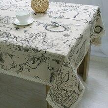 ¡NOVEDAD DE 2016! mantel de encaje de alta calidad con diseño de mapa del mundo, mantel decorativo elegante de lino para mesa