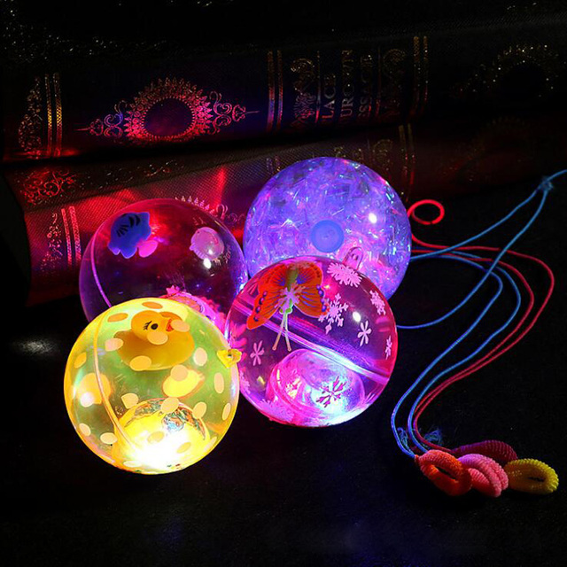 new flash transparent ball children with rope printing elastic ball night market hot light up