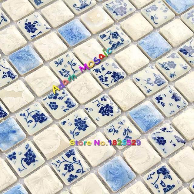 Bleu Et Blanc Salle De Bains Carrelage Mural De Cuisine Decoratif Tuiles Dosseret Floral Mosaique Piscine Frontieres