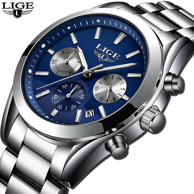 New LIGE Top Luxury Brand Watches Mens Casual Fashion Waterproof Sports Men Watch Male Quartz Wristwatches Relogio Masculino+Box new arrival curren brand men s quartz watches hot sale casual sports mens wristwatches fashion silicone straps male clocks hours