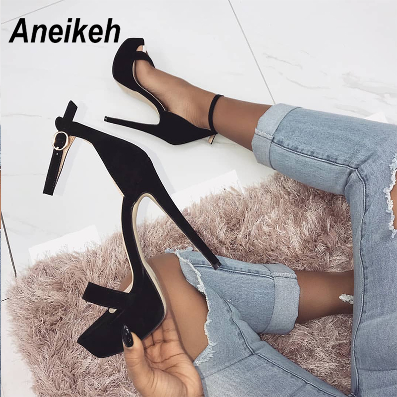 Aneikeh 2019 NEW High Heels Sandals Summer Sexy Ankle Strap Open Toe Party Dress 16CM Platform Gladiator Women Shoes Size 35-40