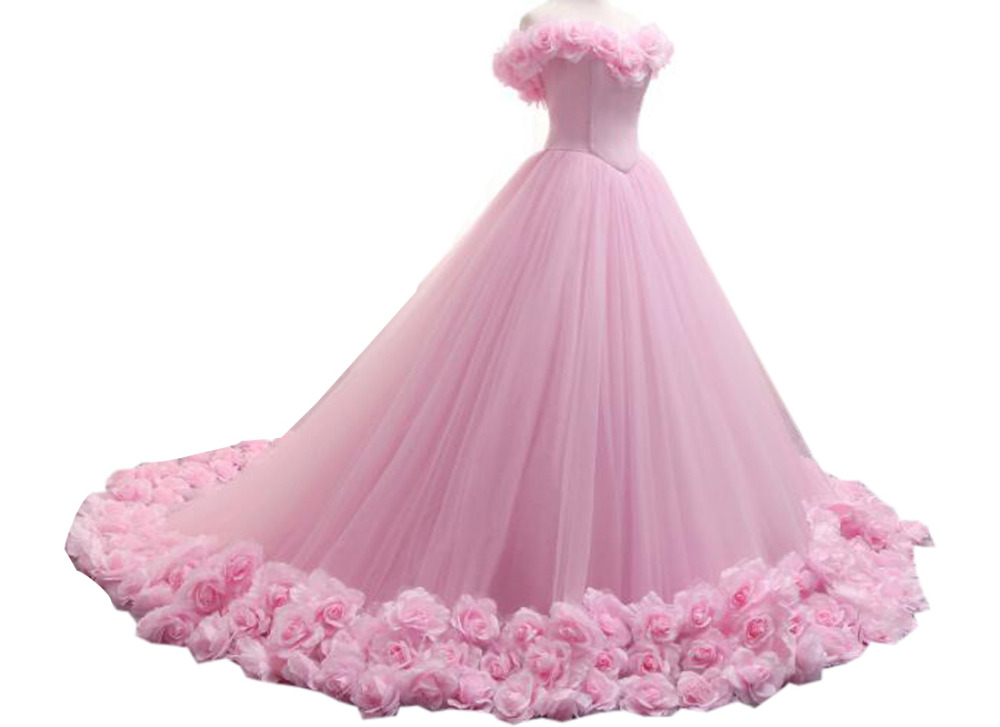Pink Princess Quinceanera Dresses 2017 Boat Neck Floral Long Tulle Formal Pageant Ball Gowns For Girls Vestidos De 15 Anos(China)