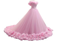Pink Princess Quinceanera Dresses 2017 Boat Neck Floral Long Tulle Formal Pageant Ball Gowns for Girls Vestidos De 15 Anos