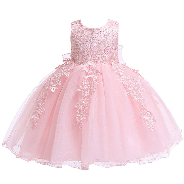 Newborn Baby Girls Christening Dresses Infant Toddler Baptism Gown Children Wedding Party White Frocks Birthday 1 Year Outfit