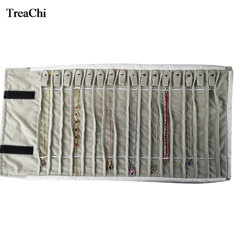 New Creative Black Velvet Jewelry Roll Bag Grey Pendant Bracelet Organizer Storage Pouch Portable Necklace Display Travel Cases