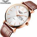Brand GUANQIN Men Watch 2017 Business Quartz 30M Waterproof Watches Men'S Leather Band Auto Date Wristwatches Men Clock
