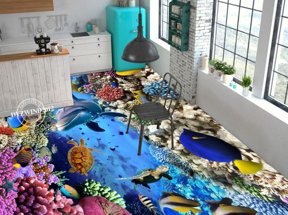 Custom 3d Floor Vinyl Underwater World Wallpaper Waterproof Self Adheiver 3D Kitchen Flooring