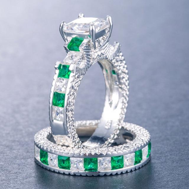 Doppio Verde Quadrato Blu CZ Anello in Rhodium Placcato Fedi Nuziali AAA Zircon Dei Monili Accessori Delle Donne di Fidanzamento anello di Cerimonia Nuziale 5