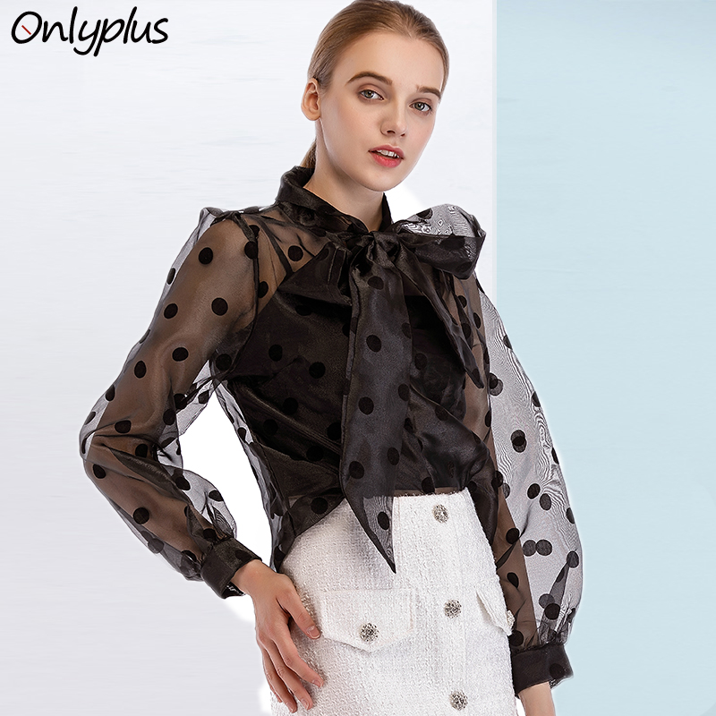 Onlyplus Bow Polka Dot Blouse Woman Ried Neck Long Sleeve Loose Black Tops organza Transparent Sexy Casual Shirt Blouse