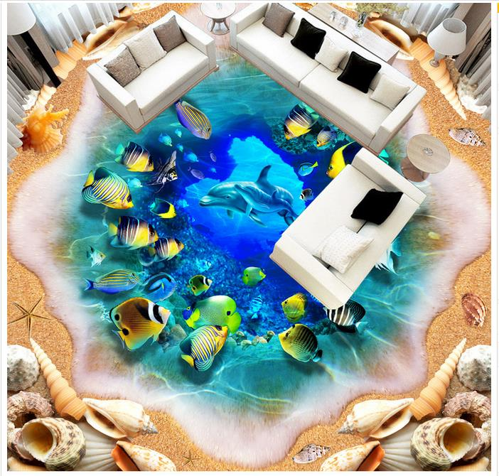 Custom 3d wallpaper 3d flooring painting wallpaper Large 3d ocean world mother dolphins floor painting 3d room photo wallpaer free shipping high quality hd underwater world 3d flooring painting wallpaper kitchen office wear floor mural