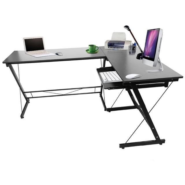 (Ship From US) Black Wood L Shape Corner Computer Desk PC Laptop Home