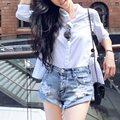 2017 Mulheres Verão Calções Do Vintage Rasgado Buraco Franja Bolso das calças de Brim Azul Denim Shorts Mulheres Casual Shorts Hot Curto