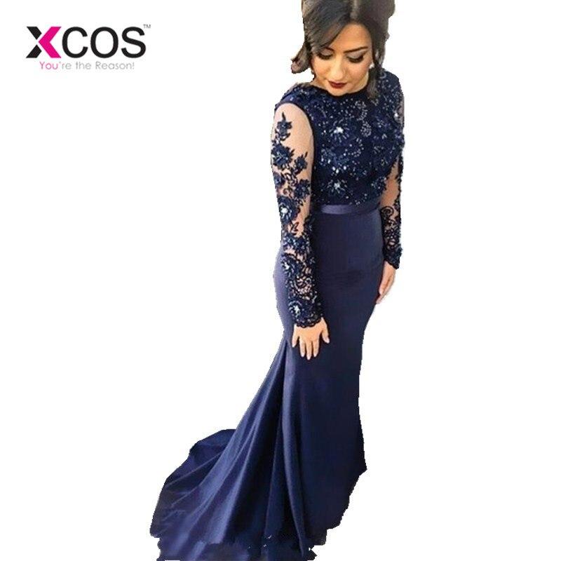 XCOS robes bleu marine col haut dentelle sirène robes de soirée 2018 manches longues appliques robes de soirée robe de bal